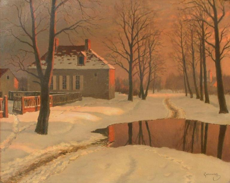 "Titled ""Winter Reflections,"" this is an excellent oil painting by Russian artist Mikhail Germachev also known as Michael or Michel Guermacheff.