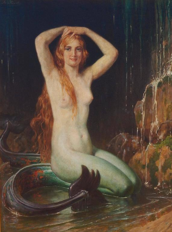 Art Nouveau mermaid painting by Italian artist 