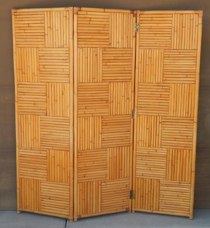Rare Vintage Rattan Room Divider or Screen For Sale at 1stdibs