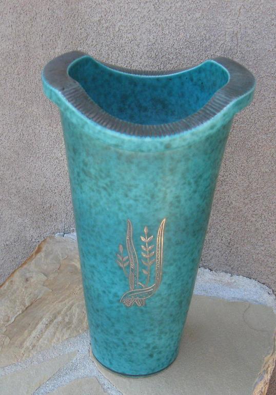 Gustavsberg Argenta Vase with Silver Overlay Nude Figure by Wilhelm Kage 4