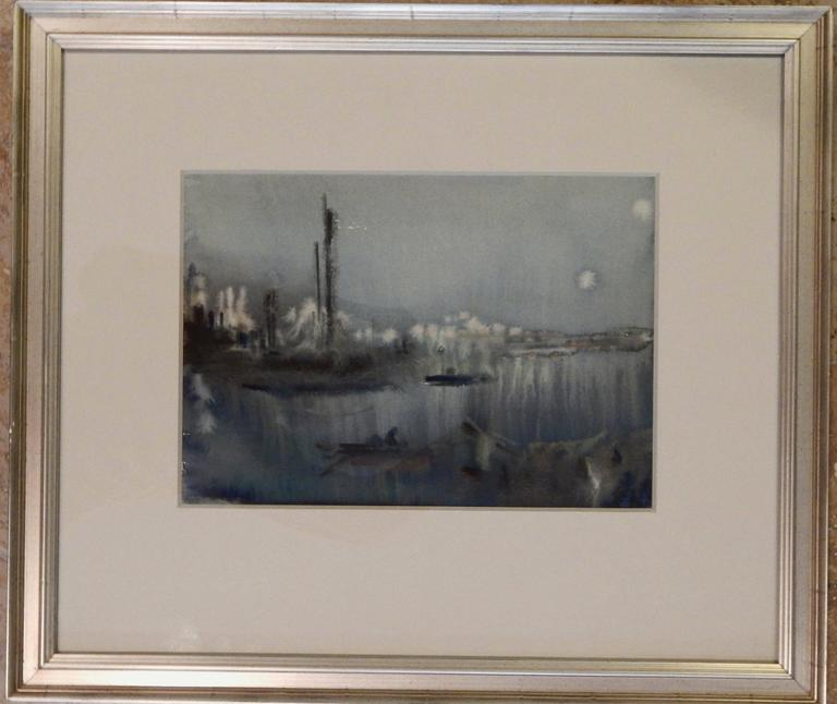 "Chen Chi (1912-2005) watercolor titled: ""Nocturne on the Whangpoo"" Measures: 9.5"