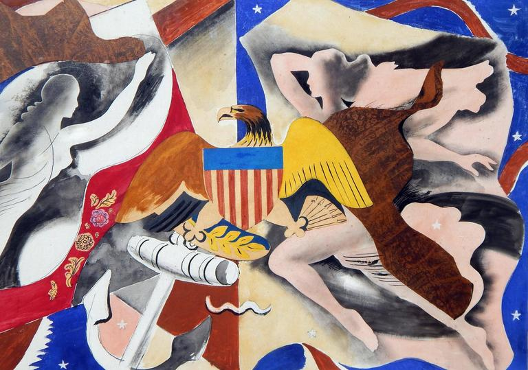 American Eduard Buk Ulreich WPA Artist Proposed Mural, 1940s, Freedom of the Seas For Sale