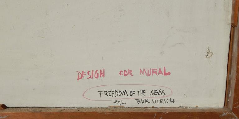 20th Century Eduard Buk Ulreich WPA Artist Proposed Mural, 1940s, Freedom of the Seas For Sale