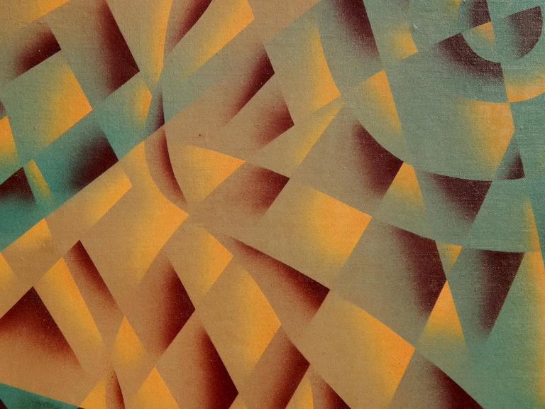 H. Wilson Smith California Artist Geometric Abstract Painting, circa 1940s-1950s In Good Condition For Sale In Phoenix, AZ