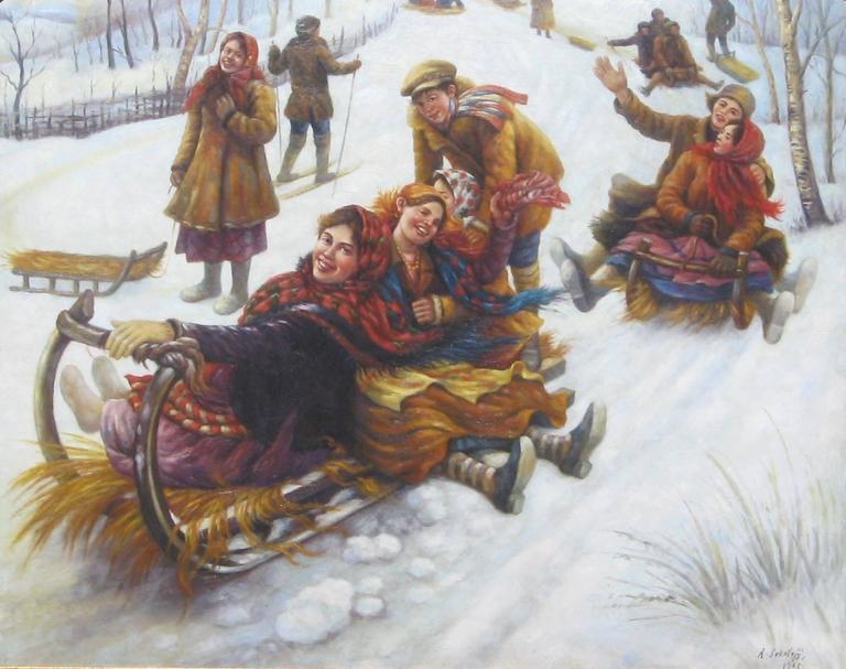 Russian subject by Anatoly Sokoloff (1891-1971).