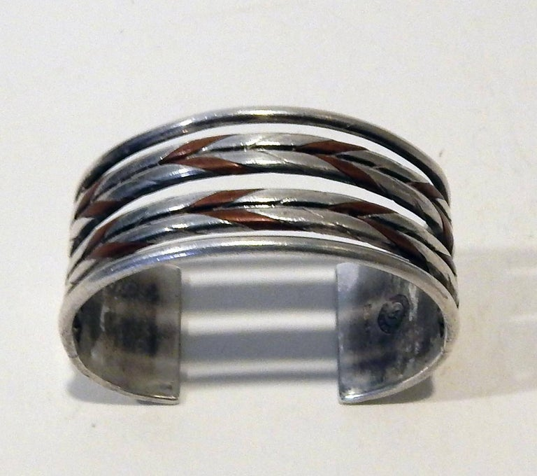 William Spratling Taxco Mexican Silver and Copper Cuff Bracelet Set-Modernist In Excellent Condition For Sale In Phoenix, AZ