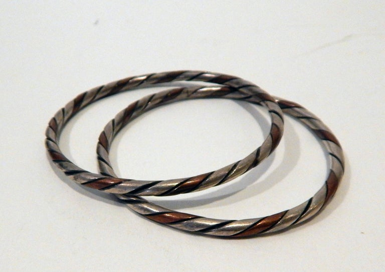 20th Century William Spratling Taxco Mexican Silver and Copper Cuff Bracelet Set-Modernist For Sale