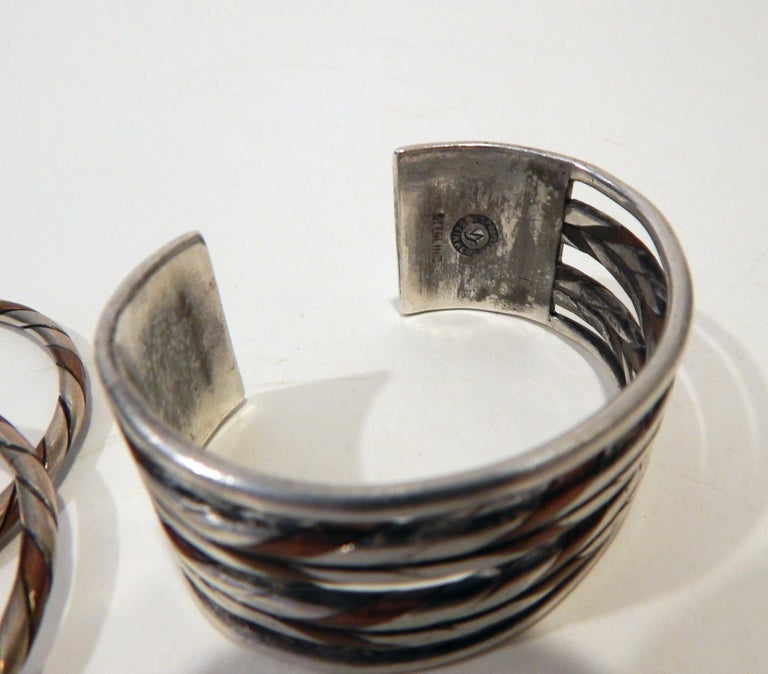 William Spratling Taxco Mexican Silver and Copper Cuff Bracelet Set-Modernist For Sale 1