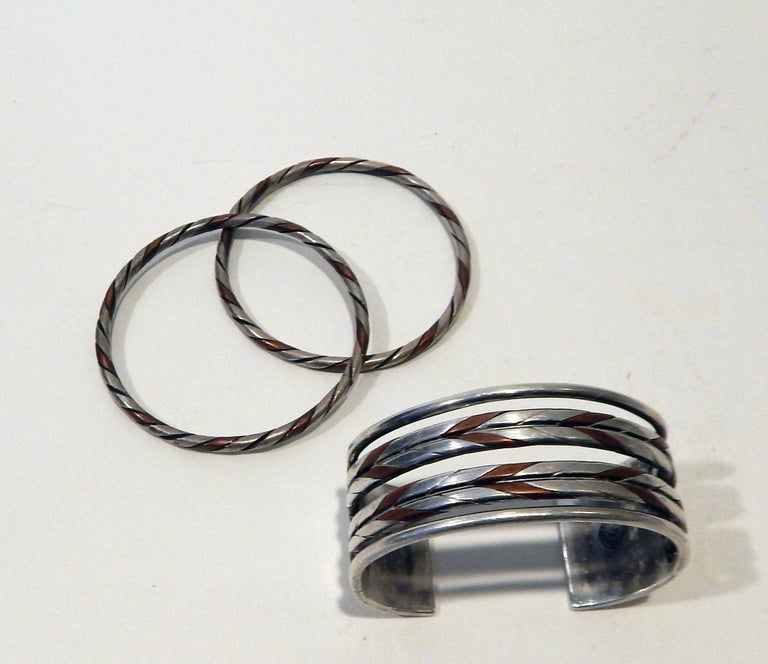 William Spratling Taxco Mexican Silver and Copper Cuff Bracelet Set-Modernist For Sale 3