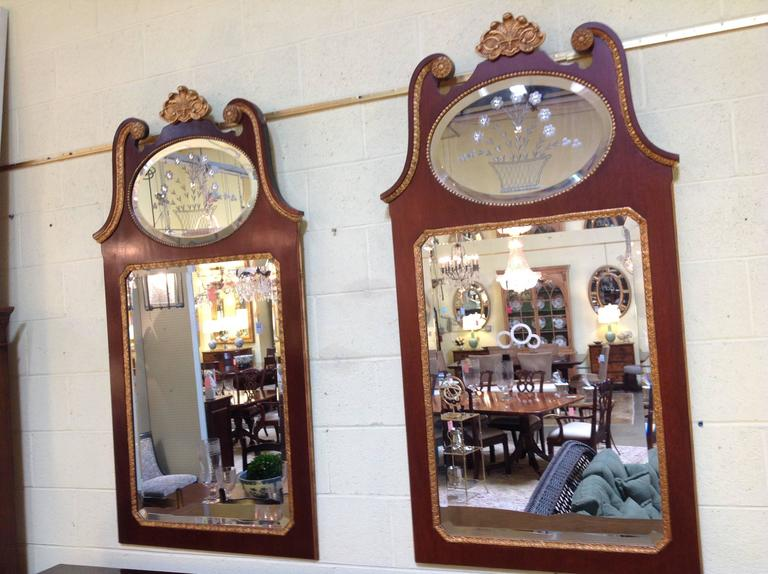Pair of Mahogany Baker Mirrors from the Stately Homes Collection 2