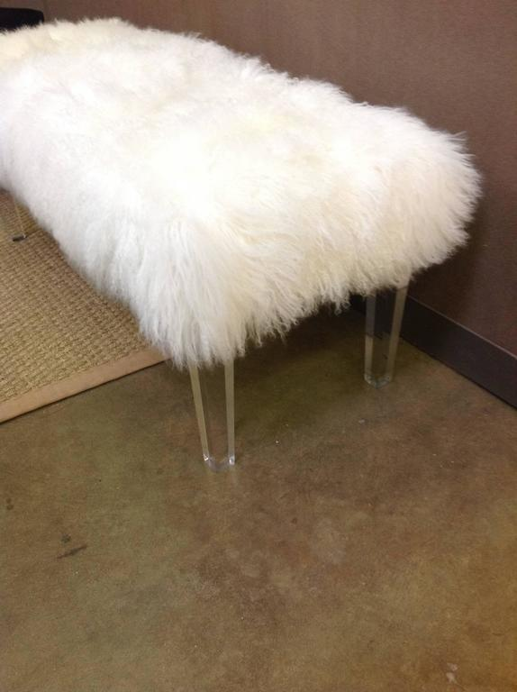 Lucite Bench With Mongolian Fur Top At 1stdibs