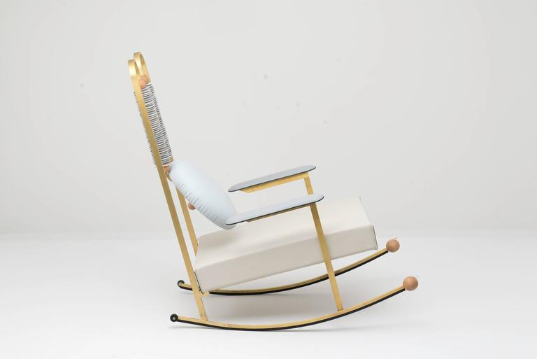 Modern Rulla Leather & Brass Rocking Chair by Mario Milana Handcrafted in Italy For Sale