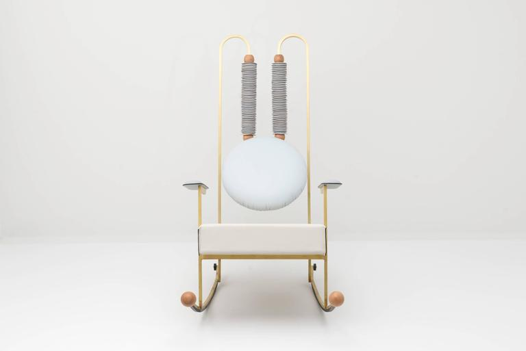 Italian Rulla Leather & Brass Rocking Chair by Mario Milana Handcrafted in Italy For Sale