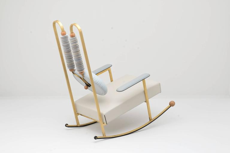 Cast Rulla Leather & Brass Rocking Chair by Mario Milana Handcrafted in Italy For Sale
