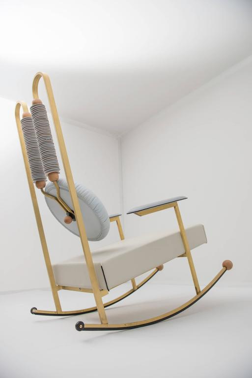 Contemporary Rulla Leather & Brass Rocking Chair by Mario Milana Handcrafted in Italy For Sale