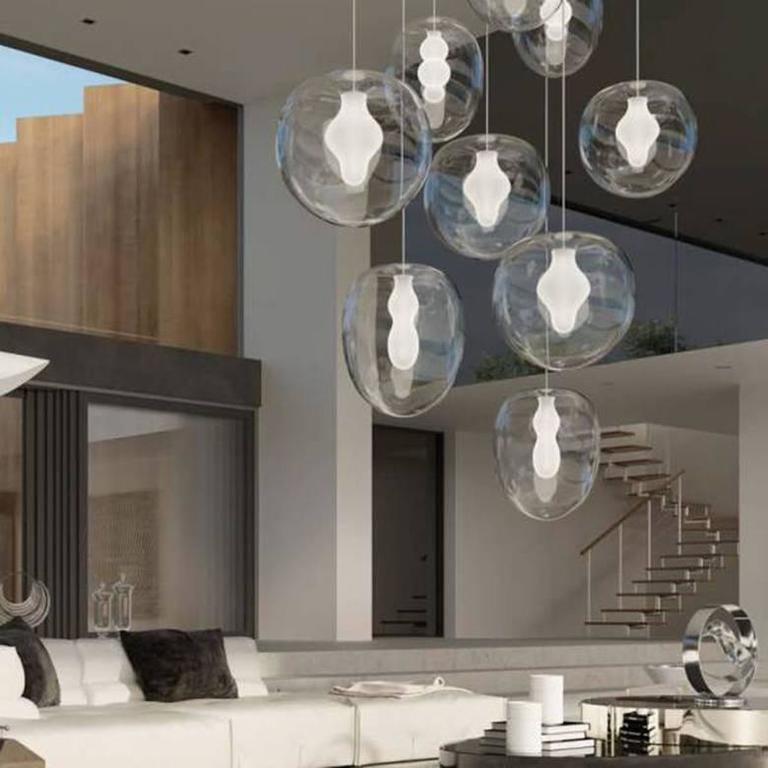 Frosted Preciosa Soul Pendant Lights by Eva Eisler, Glass Mouth-Blown in Czech Republic For Sale