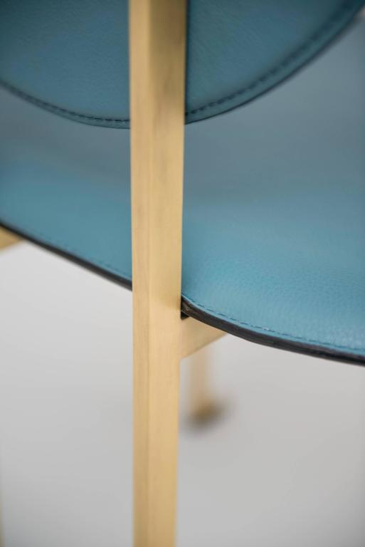Contemporary Mario Milana Mm3 Dining Chair Handcrafted in Italy with Cast Brass and Leather For Sale