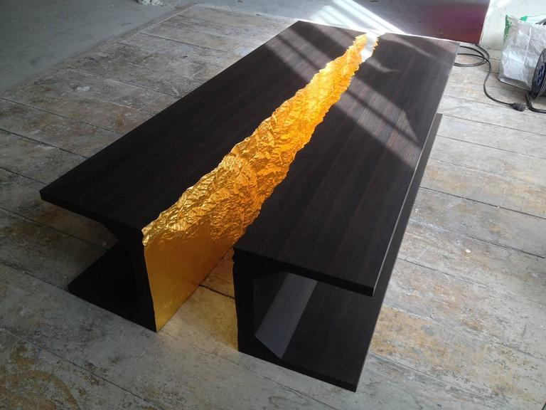 Modern Limited Edition Dining Table by Thierry Dreyfus, Walnut or Black Lacquer For Sale