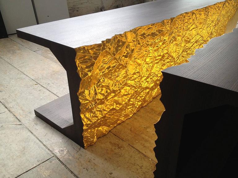 Carved Limited Edition Dining Table by Thierry Dreyfus, Walnut or Black Lacquer For Sale