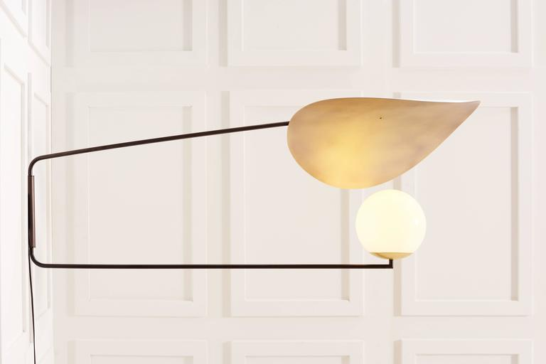 Wall Sconce No Shade : Anna Karlin Bronzed Sun Shade Sconce Light with Brass Shade For Sale at 1stdibs
