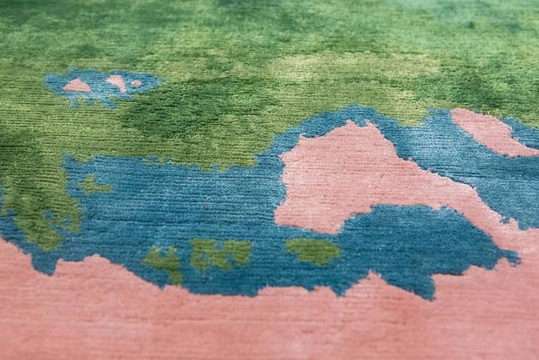 Contemporary Frank Gehry Silk Rug (Ed. 3/3) Handwoven in Nepal For Sale