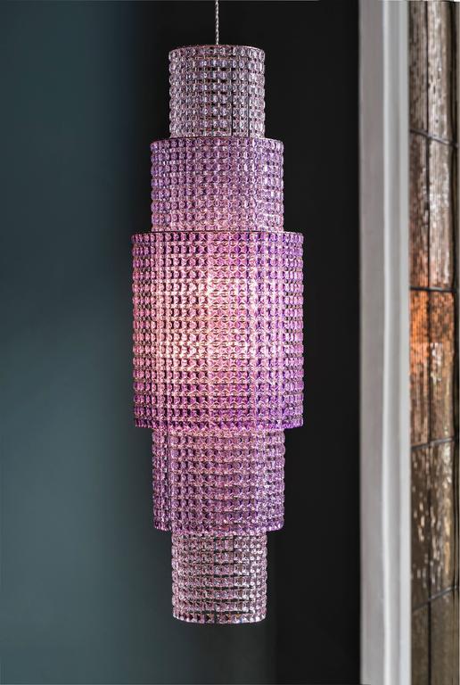 Italian Lolli e Memmoli Phebo Crystal Light Fixture Hand-Crafted in Italy, Modern Design For Sale