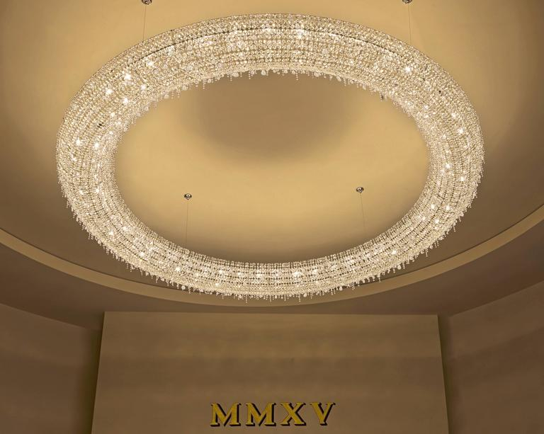 Lolli E Memmoli Ugolino Modern Crystal Halo Light Fixture - Italian light fixtures