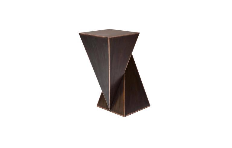 Mauro Mori Piramidone Fondente Geometric Italian Metal Side Table In New Condition For Sale In New York, NY