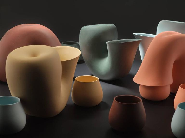 Organic Modern Particles Gallery Collection Jug and Cup by Aldo Bakker 'Porcelain Carafe'