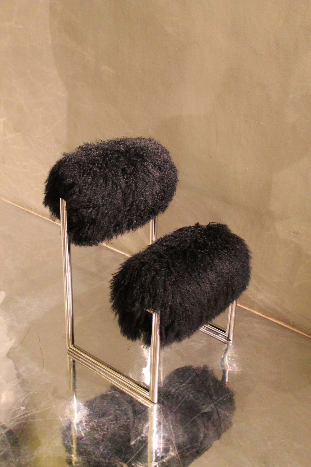 Limited Edition Due Piu Chair In Black Mongolian Fur For