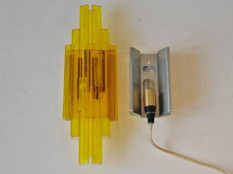 Set of Two Danish Design Wall Lamps in Yellow Acryllic at 1stdibs