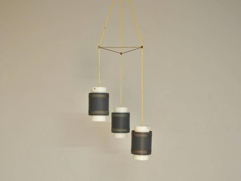 Danish Vintage Triple Pendant Light, Denmark, 1960s For Sale