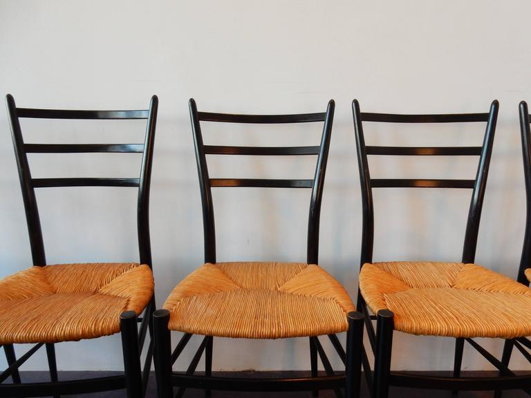 Set of Five 'Spinetto' Dining Chairs by Chiavari, Italy, 1950s In Good Condition For Sale In Steenwijk, NL