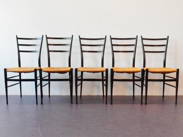 Ebonized Set of Five 'Spinetto' Dining Chairs by Chiavari, Italy, 1950s For Sale