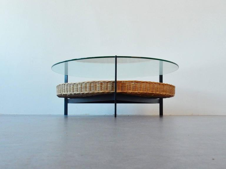 Midcentury coffee table with glass top on metal frame at for Metal frame glass coffee table