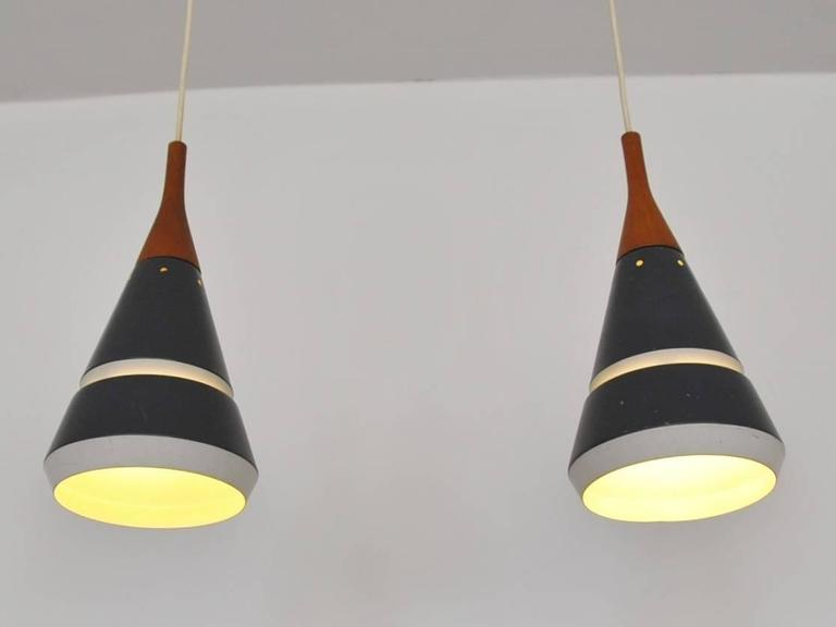 Set of two handsome pendant lights by philips netherlands 1960s mid century modern set of two handsome pendant lights by philips netherlands 1960s aloadofball Images