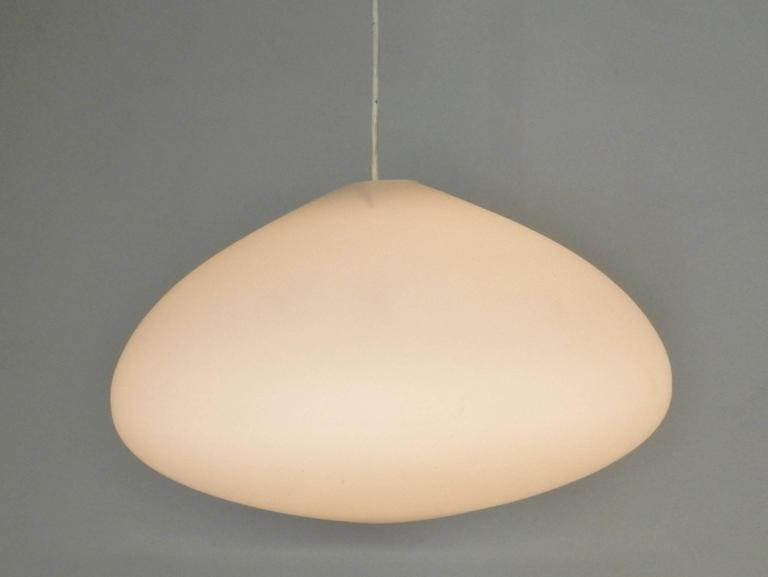 Mid-Century Modern Large Opaline Glass Pendant Lamps, Netherlands, 1960s For Sale