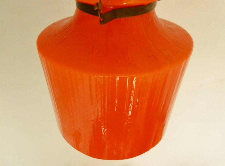 Mid-Century Modern Ripple Structure Glass Pendant Light from Indoor, Netherlands, Early 1970s For Sale