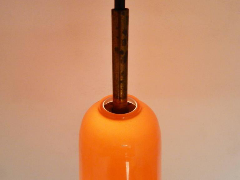 Italian Set of Two Orange Glass Pendant Lights by Gino Vistosi, Italy, 1960s For Sale