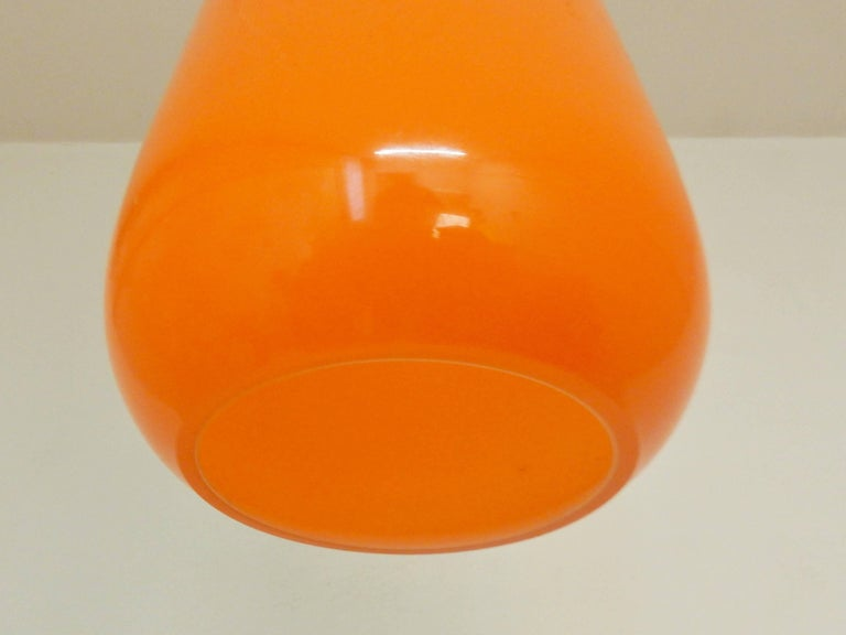 Set of Two Orange Glass Pendant Lights by Gino Vistosi, Italy, 1960s In Excellent Condition For Sale In Steenwijk, NL
