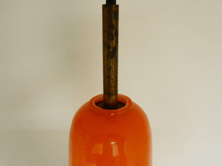 Mid-20th Century Set of Two Orange Glass Pendant Lights by Gino Vistosi, Italy, 1960s For Sale
