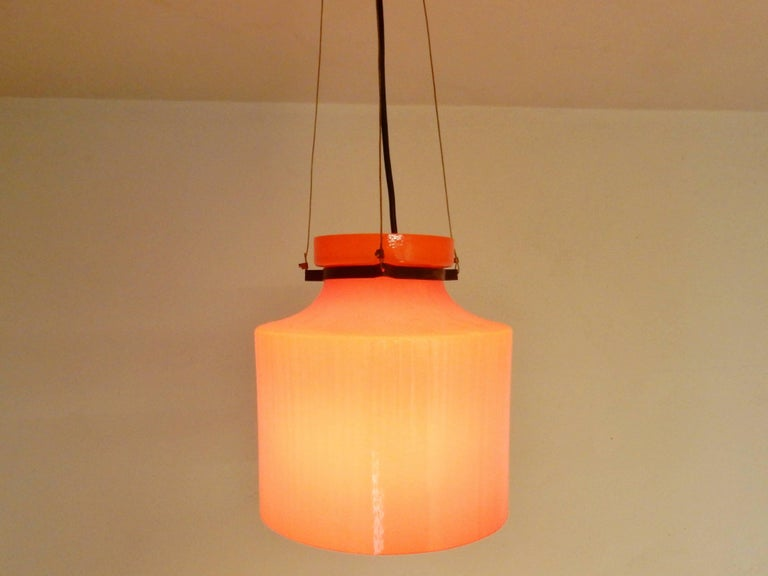 Late 20th Century Ripple Structure Glass Pendant Light from Indoor, Netherlands, Early 1970s For Sale