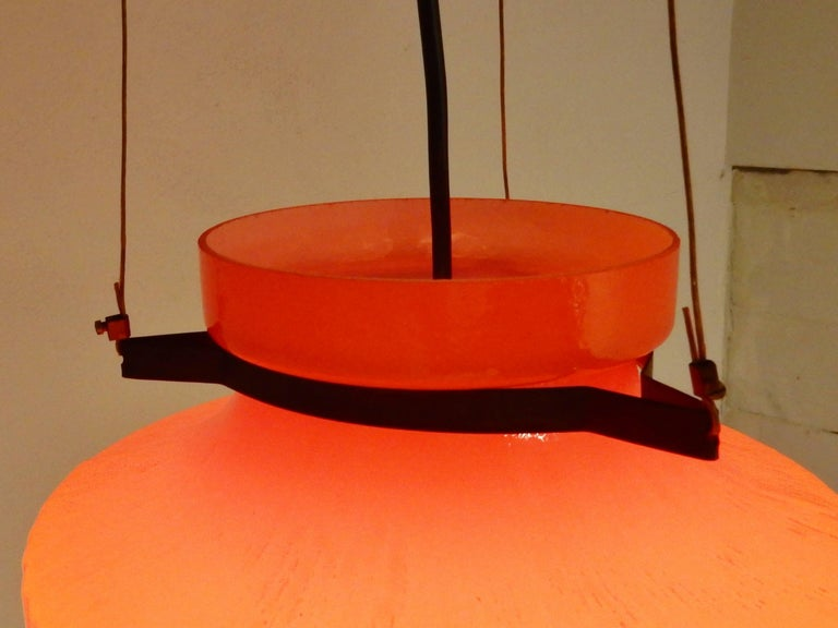 Metal Ripple Structure Glass Pendant Light from Indoor, Netherlands, Early 1970s For Sale