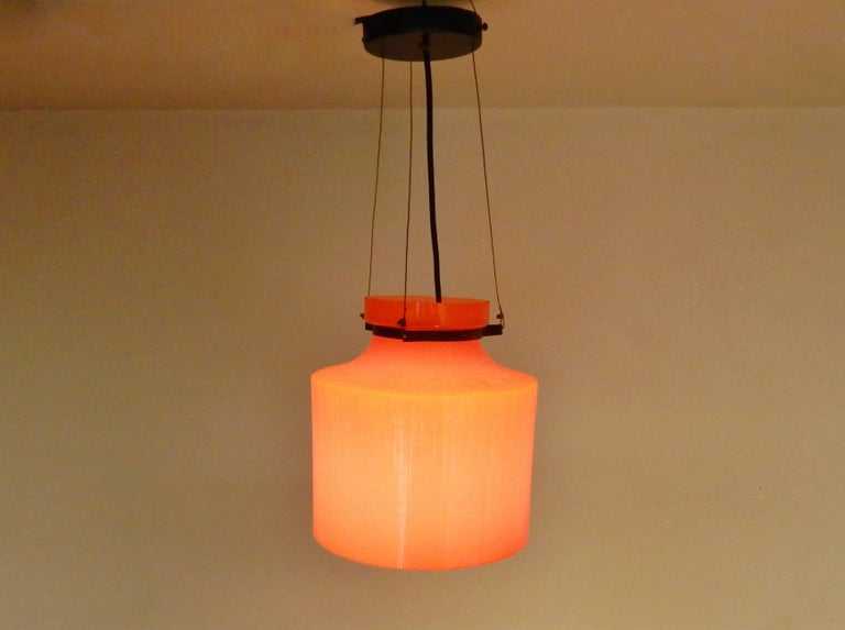 Ripple Structure Glass Pendant Light from Indoor, Netherlands, Early 1970s For Sale 1