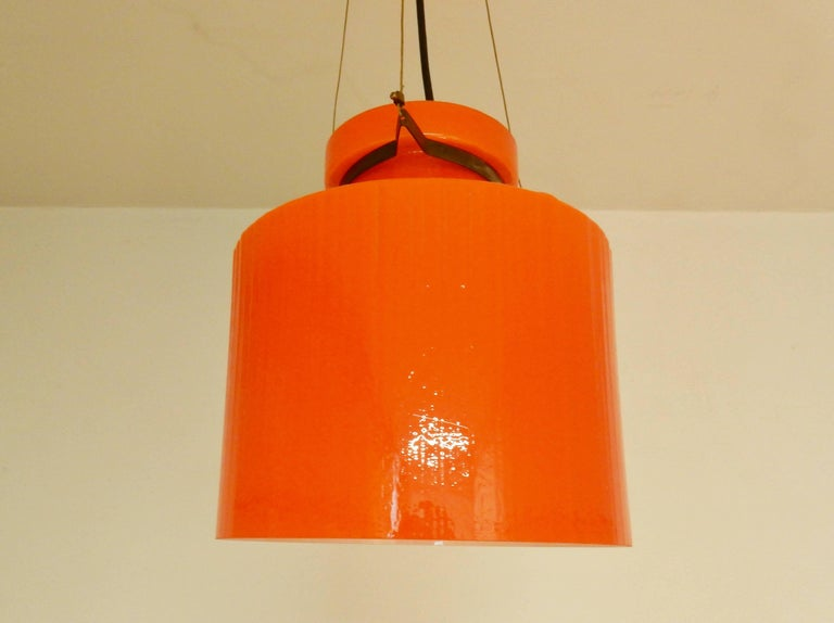 Ripple Structure Glass Pendant Light from Indoor, Netherlands, Early 1970s For Sale 2