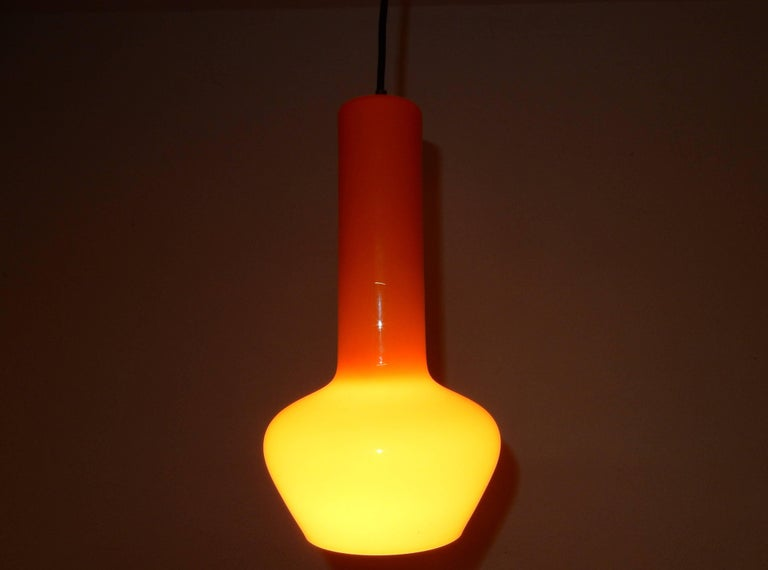 Italian Set of Two Orange Pendant Lamps by Gino Vistosi, Italy, 1960s For Sale