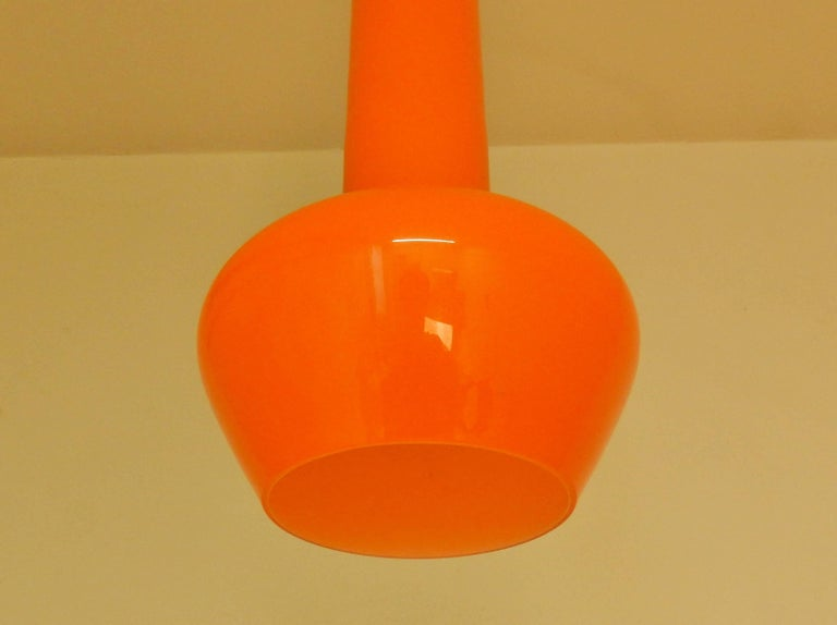 Mid-20th Century Set of Two Orange Pendant Lamps by Gino Vistosi, Italy, 1960s For Sale