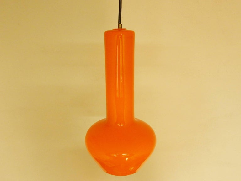 Glass Set of Two Orange Pendant Lamps by Gino Vistosi, Italy, 1960s For Sale