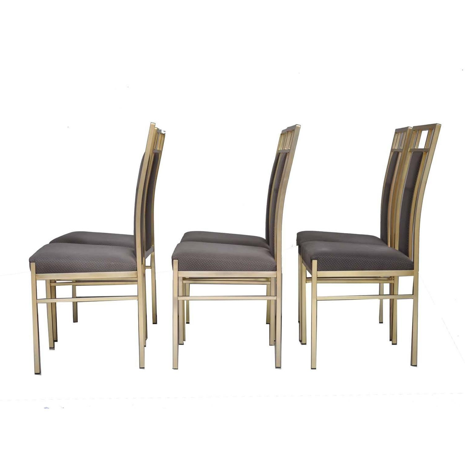 Italian set of dining chairs in gold metal and fabric for for Metal dining room chairs