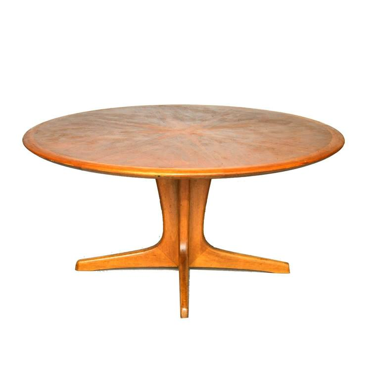 Large Mid-Century Wooden Coffee Table With Wooden Inlay